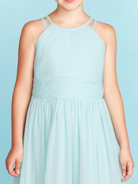 Princess / A-Line Jewel Neck Floor Length Chiffon Junior Bridesmaid Dress With Ruched / Side-Draped / Wedding Party / Open Back_7