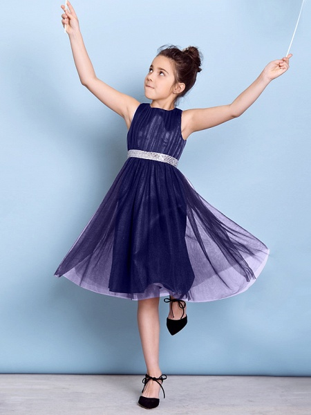 A-Line Jewel Neck Knee Length Tulle Junior Bridesmaid Dress With Sash / Ribbon / Sequin / Draping / Natural_47