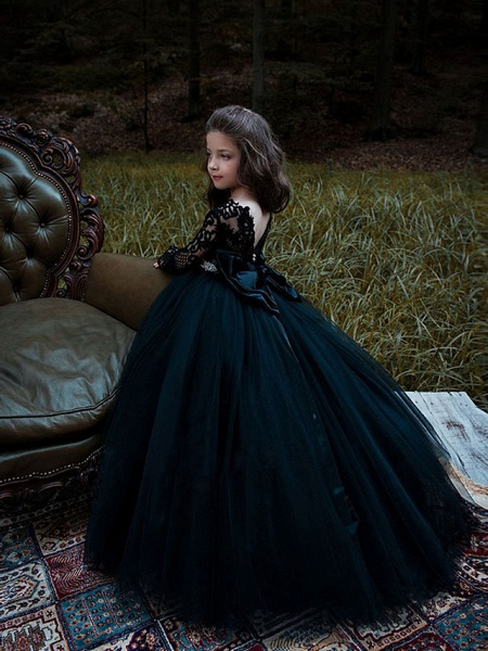 Princess / Ball Gown Sweep / Brush Train Wedding / Party Flower Girl Dresses - Lace / Tulle Long Sleeve Jewel Neck With Bow(S) / Pleats / Appliques_1