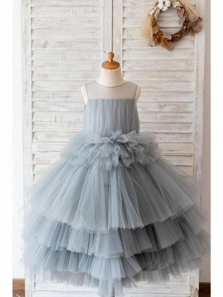 Ball Gown Knee Length Wedding / Birthday Flower Girl Dresses - Tulle Sleeveless Jewel Neck With Tier_1