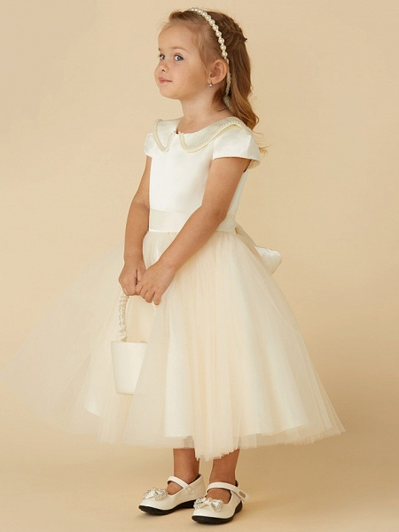 Ball Gown Tea Length Pageant Flower Girl Dresses - Satin / Tulle Short Sleeve Jewel Neck With Pearls / Beading_4