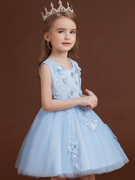 Princess / Ball Gown Knee Length Wedding / Party Flower Girl Dresses - Tulle / Satin Chiffon Sleeveless Jewel Neck With Bow(S) / Appliques_5