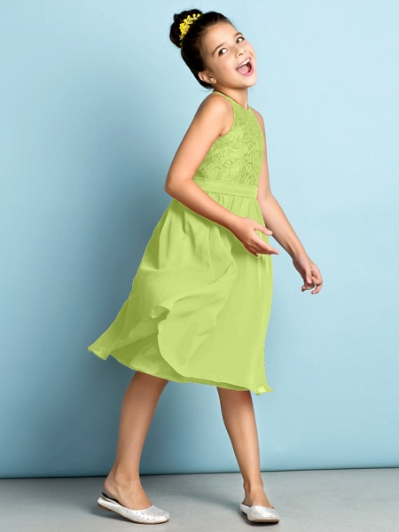 A-Line Jewel Neck Knee Length Chiffon / Lace Junior Bridesmaid Dress With Lace / Natural / Mini Me_40