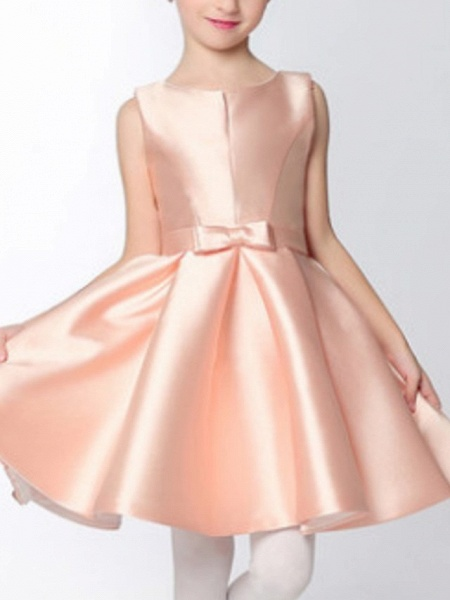 A-Line Knee Length Pageant Flower Girl Dresses - Polyester Sleeveless Jewel Neck With Bow(S)_6