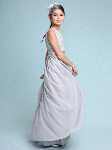 Sheath / Column Bateau Neck Floor Length Chiffon / Lace Junior Bridesmaid Dress With Lace / Natural_7