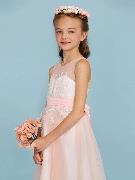 Princess / A-Line Jewel Neck Ankle Length Lace / Tulle Junior Bridesmaid Dress With Sash / Ribbon / Appliques / Wedding Party / Open Back_6