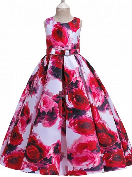 A-Line Round Floor Length Cotton Junior Bridesmaid Dress With Bow(S) / Pattern / Print / Ruching_2