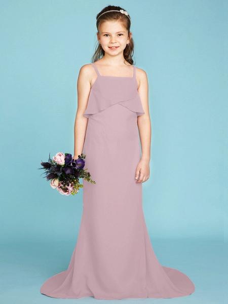 Sheath / Column Spaghetti Strap Sweep / Brush Train Chiffon Junior Bridesmaid Dress With Tiered / Wedding Party / Open Back_28