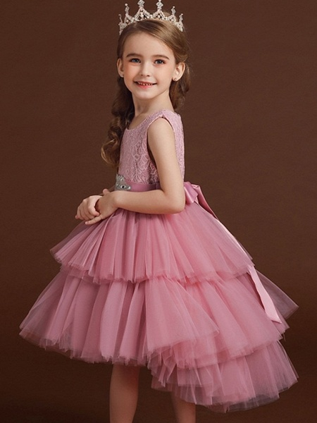 Princess / Ball Gown Asymmetrical Wedding / Party Flower Girl Dresses - Lace / Tulle Sleeveless Jewel Neck With Belt / Bow(S) / Tier_3