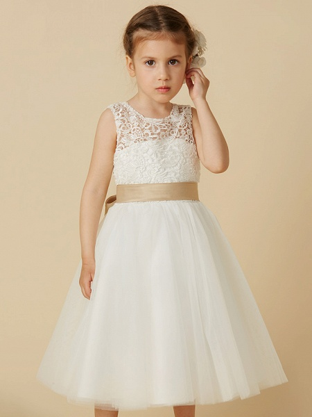 Princess Knee Length Wedding / First Communion Flower Girl Dresses - Lace / Tulle Sleeveless Jewel Neck With Sash / Ribbon / Bow(S)_4