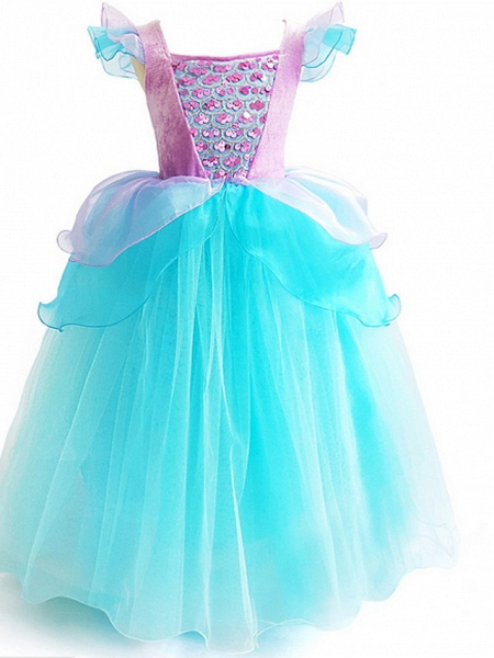Ball Gown Floor Length Event / Party / Birthday Flower Girl Dresses - Poly Short Sleeve Scoop Neck With Cascading Ruffles / Color Block / Paillette_3