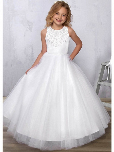 Princess / A-Line Floor Length Wedding / Party Flower Girl Dresses - Satin / Tulle Sleeveless Jewel Neck With Beading_1