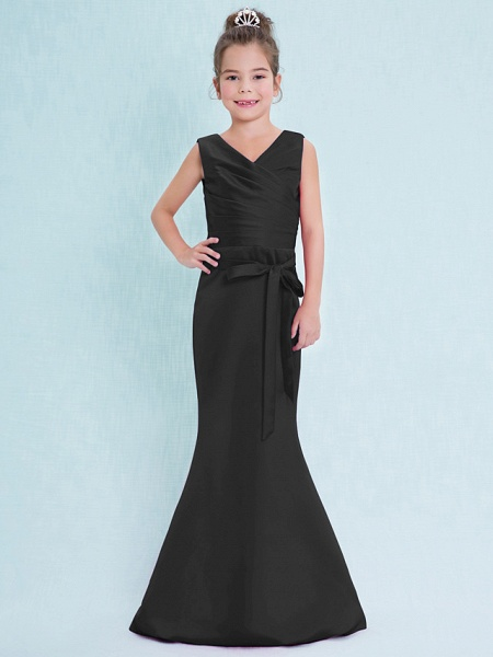 Mermaid / Trumpet V Neck Floor Length Satin Junior Bridesmaid Dress With Criss Cross / Natural_40