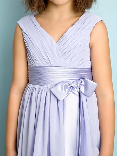 A-Line V Neck Knee Length Chiffon Junior Bridesmaid Dress With Bow(S) / Criss Cross / Natural_7