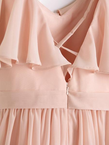 A-Line Jewel Neck Maxi Chiffon Junior Bridesmaid Dress With Ruffles / Ruching / Wedding Party_6