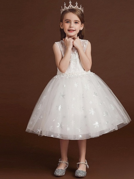 Princess / Ball Gown Knee Length Wedding / Party Flower Girl Dresses - Lace / Tulle Sleeveless Jewel Neck With Bow(S) / Appliques_4
