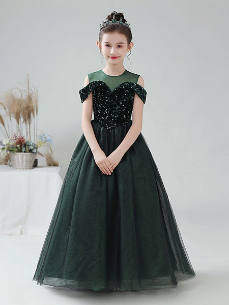 Ball Gown Floor Length Party / Birthday Hanfu / Flower Girl Dresses - Tulle / Sequined Sleeveless Off Shoulder / Jewel Neck With Paillette_1