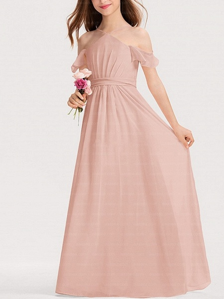 A-Line Floor Length Pageant Flower Girl Dresses - Polyester Short Sleeve Spaghetti Strap With Bow(S)_4