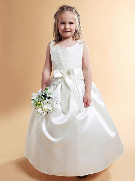Princess / A-Line Floor Length Wedding / First Communion Flower Girl Dresses - Lace / Satin Sleeveless Scoop Neck With Lace / Sash / Ribbon / Bow(S) / Spring / Summer / Fall / Winter_2