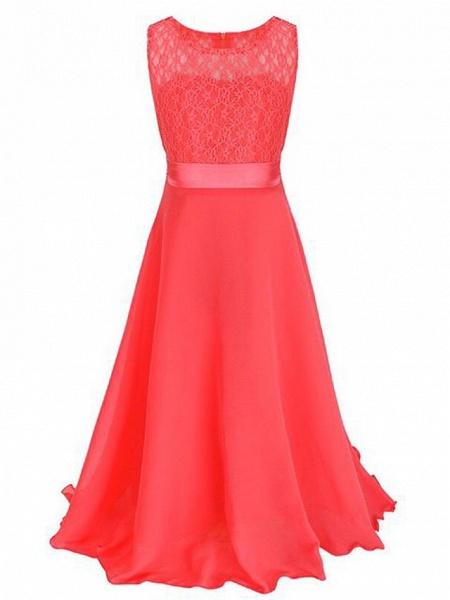 A-Line Floor Length Wedding / Party Flower Girl Dresses - Chiffon / Lace Sleeveless Jewel Neck With Sash / Ribbon_19