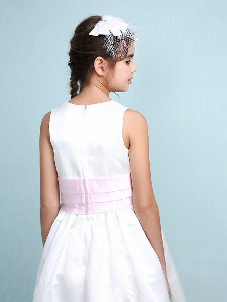 Princess / A-Line Jewel Neck Knee Length Satin Junior Bridesmaid Dress With Sash / Ribbon / Ruched / Ruffles / Spring / Summer / Fall / Winter / Wedding Party_9