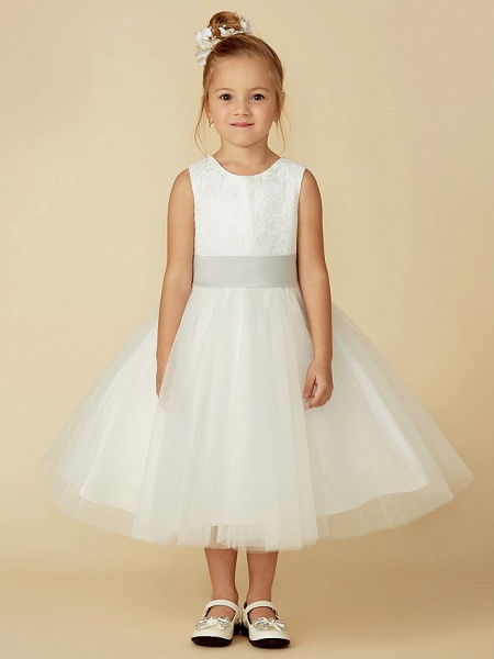 A-Line Tea Length Wedding / First Communion Flower Girl Dresses - Lace / Tulle Sleeveless Jewel Neck With Lace / Sash / Ribbon_4