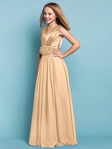 Sheath / Column V Neck Floor Length Chiffon Junior Bridesmaid Dress With Flower / Spring / Summer / Fall / Apple / Hourglass_17