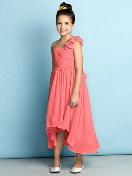 A-Line One Shoulder Asymmetrical Chiffon Junior Bridesmaid Dress With Criss Cross / Flower / Natural / Mini Me_16
