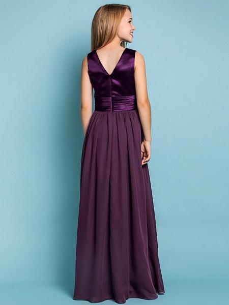 Sheath / Column V Neck Floor Length Chiffon Junior Bridesmaid Dress With Flower / Spring / Summer / Fall / Apple / Hourglass_4