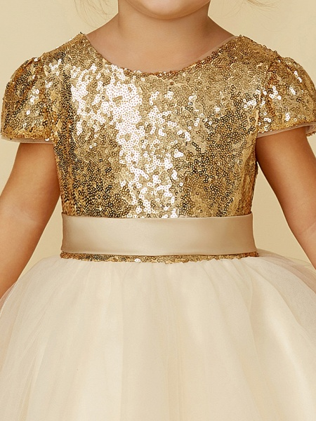 Princess Floor Length Wedding / Party / Pageant Flower Girl Dresses - Tulle / Sequined Short Sleeve Jewel Neck With Sash / Ribbon / Sequin_9