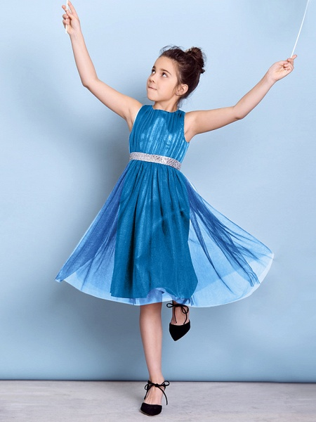 A-Line Jewel Neck Knee Length Tulle Junior Bridesmaid Dress With Sash / Ribbon / Sequin / Draping / Natural_43