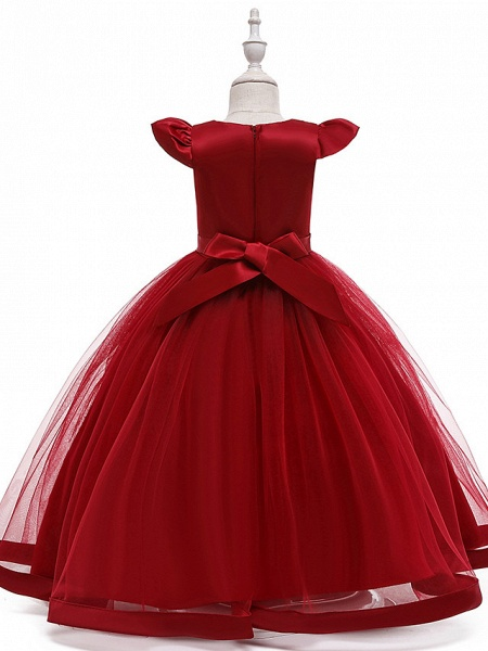 A-Line Ankle Length Wedding / Party / Pageant Flower Girl Dresses - Tulle / Matte Satin / Poly&Cotton Blend Short Sleeve Jewel Neck With Pattern / Print / Solid_11