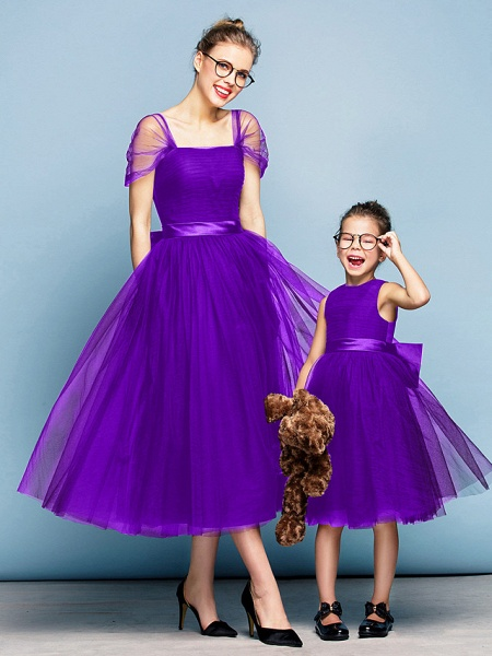 Princess Tea Length Party / Prom / Formal Evening Flower Girl Dresses - Tulle Short Sleeve Square Neck With Bow(S) / Ruched / Elegant_36