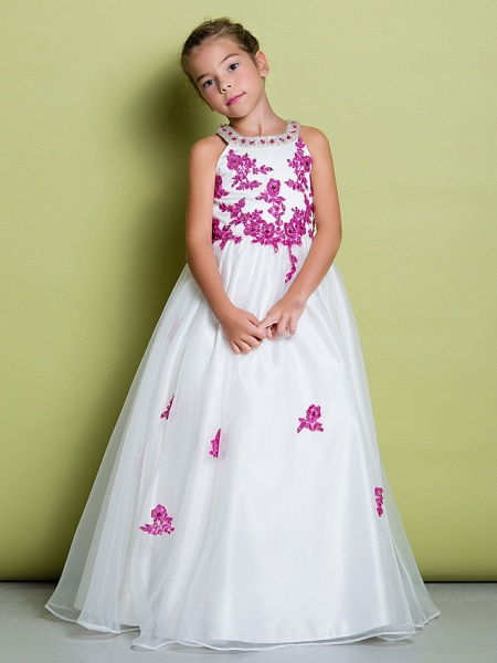 A-Line Floor Length Pageant Flower Girl Dresses - Organza Sleeveless Jewel Neck With Beading / Appliques_1