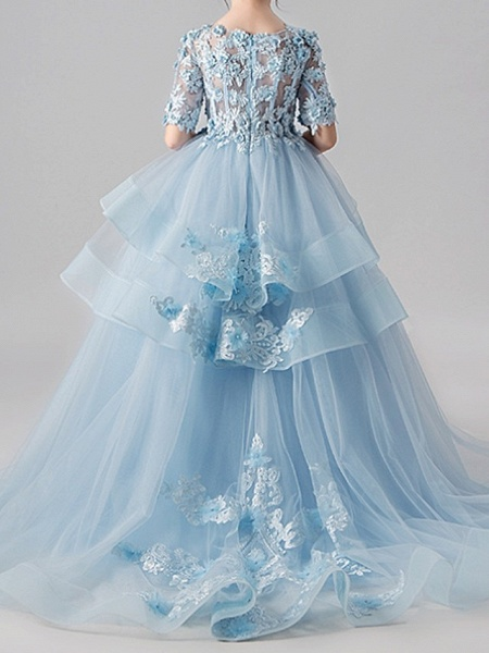 Ball Gown Sweep / Brush Train Pageant Flower Girl Dresses - Polyester Half Sleeve Jewel Neck With Appliques / Tiered_6