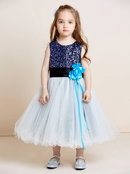 A-Line Tea Length Tulle / Sequined Sleeveless Jewel Neck With Sash / Ribbon / Sequin / Draping / Mini Me_4