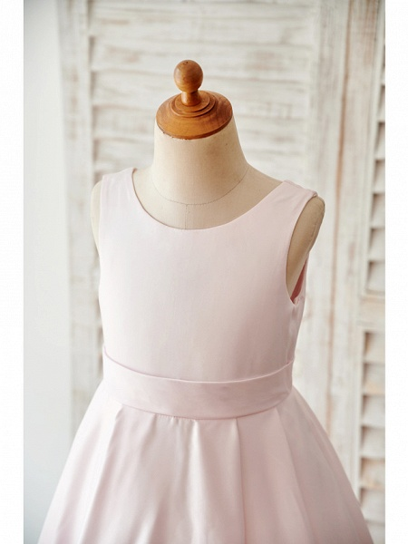 A-Line Floor Length Wedding / Birthday Flower Girl Dresses - Satin Sleeveless Jewel Neck With Bow(S)_3