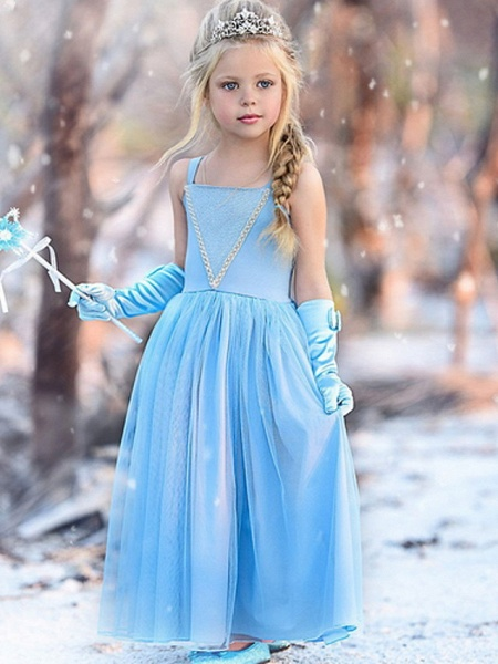A-Line Floor Length Event / Party / Birthday Flower Girl Dresses - Cotton Sleeveless Spaghetti Strap With Trim_2