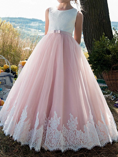 Princess Floor Length Party / Birthday / Pageant Flower Girl Dresses - Tulle / Cotton Sleeveless Jewel Neck With Lace / Belt / Appliques_3
