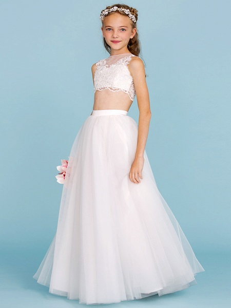 Princess / A-Line Bateau Neck Floor Length Lace / Tulle Junior Bridesmaid Dress With Pearls / Appliques / Beautiful Back / Wedding Party / See Through_1