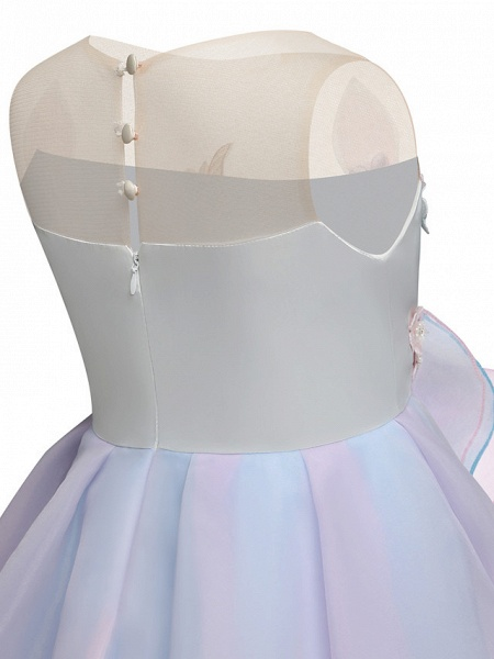 Princess Midi Party / Birthday Satin / Tulle Sleeveless Jewel Neck With Tier / Embroidery / Appliques_7