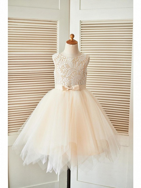 A-Line Knee Length Pageant Flower Girl Dresses - Lace / Tulle Sleeveless Scoop Neck With Sash / Ribbon_5