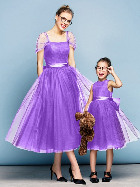 Princess Tea Length Party / Prom / Formal Evening Flower Girl Dresses - Tulle Short Sleeve Square Neck With Bow(S) / Ruched / Elegant_29