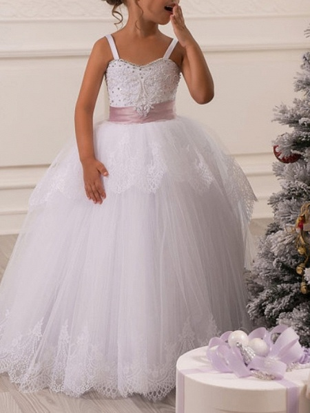 Ball Gown Floor Length First Communion Flower Girl Dresses - Polyester Sleeveless Spaghetti Strap With Lace_2