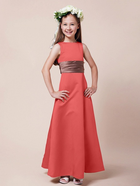 Princess / A-Line Bateau Neck Floor Length Satin Junior Bridesmaid Dress With Sash / Ribbon / Ruched / Spring / Summer / Fall / Winter / Apple_10