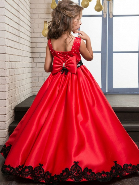 A-Line Maxi Pageant Flower Girl Dresses - Poly&Cotton Blend Sleeveless Jewel Neck With Lace_2