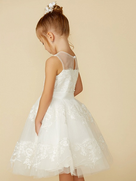 A-Line Tea Length Wedding / First Communion Flower Girl Dresses - Lace Sleeveless Jewel Neck With Lace / Sash / Ribbon_8