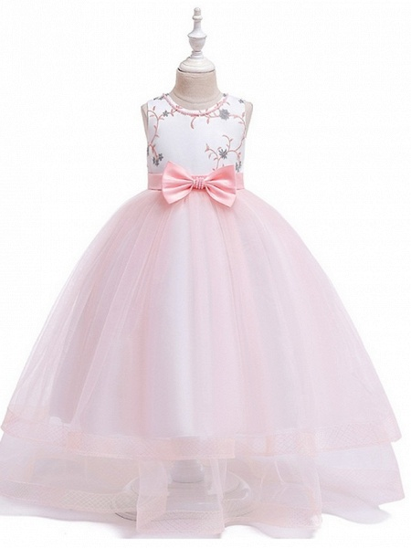 Princess Round Floor Length Cotton Junior Bridesmaid Dress With Bow(S) / Embroidery_3