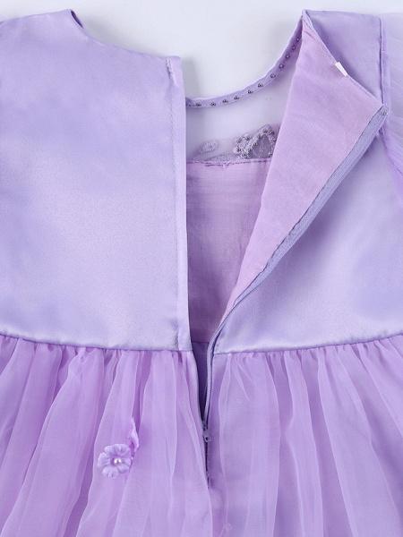 Princess Midi Wedding / Birthday Satin / Tulle Sleeveless Jewel Neck With Bow(S) / Pearls / Beading_13