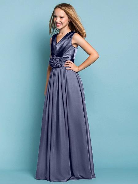 Sheath / Column V Neck Floor Length Chiffon Junior Bridesmaid Dress With Flower / Spring / Summer / Fall / Apple / Hourglass_48